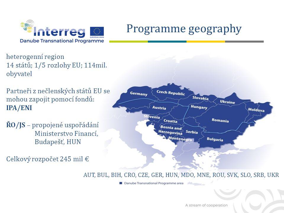 Programme geography heterogenní region 14 států; 1/5 rozlohy EU; 114mil.