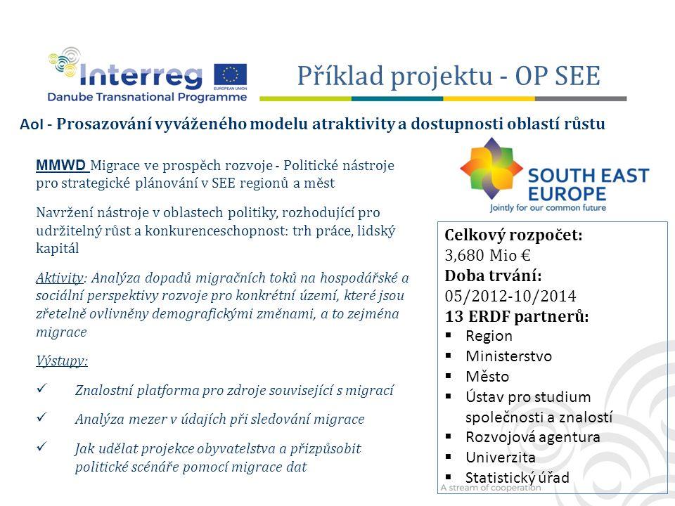 Příklad projektu - OP SEE MMWD Migrace ve prospěch rozvoje - Politické nástroje pro strategické plánování v SEE regionů a měst Navržení nástroje v oblastech politiky, rozhodující pro udržitelný růst a konkurenceschopnost: trh práce, lidský kapitál Aktivity: Analýza dopadů migračních toků na hospodářské a sociální perspektivy rozvoje pro konkrétní území, které jsou zřetelně ovlivněny demografickými změnami, a to zejména migrace Výstupy: Znalostní platforma pro zdroje související s migrací Analýza mezer v údajích při sledování migrace Jak udělat projekce obyvatelstva a přizpůsobit politické scénáře pomocí migrace dat AoI - Prosazování vyváženého modelu atraktivity a dostupnosti oblastí růstu Celkový rozpočet: 3,680 Mio € Doba trvání: 05/2012-10/2014 13 ERDF partnerů:  Region  Ministerstvo  Město  Ústav pro studium společnosti a znalostí  Rozvojová agentura  Univerzita  Statistický úřad