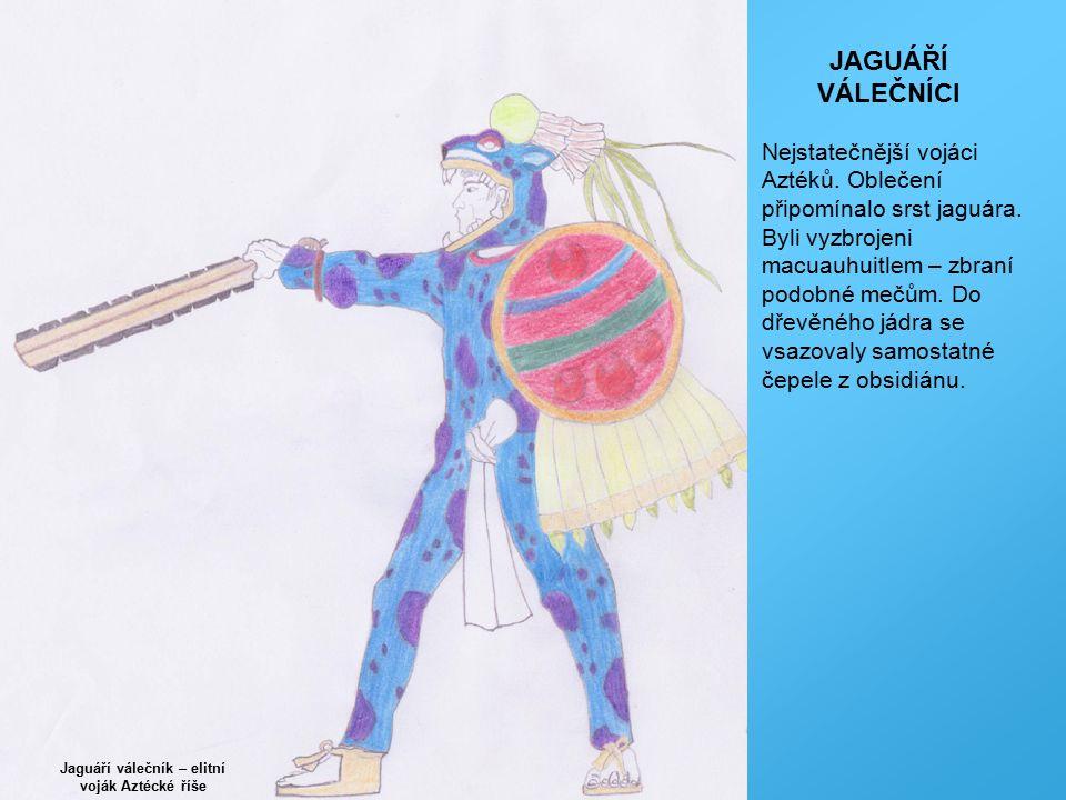 Jaguáří válečník – elitní voják Aztécké říše JAGUÁŘÍ VÁLEČNÍCI Nejstatečnější vojáci Aztéků. Oblečení připomínalo srst jaguára. Byli vyzbrojeni macuau