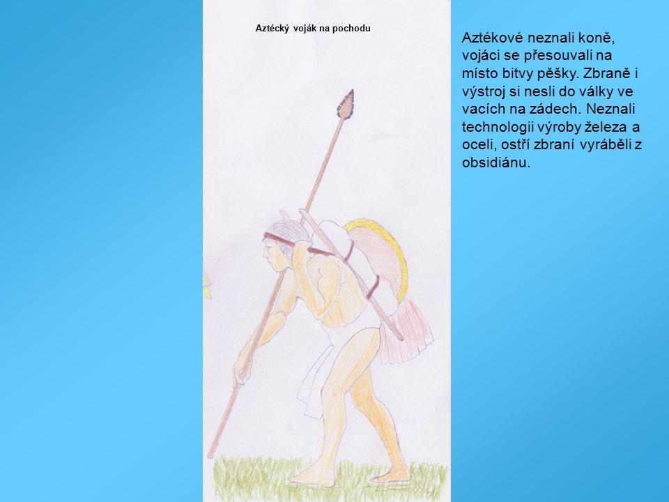 Aztécký voják na pochodu Aztékové neznali koně, vojáci se přesouvali na místo bitvy pěšky. Zbraně i výstroj si nesli do války ve vacích na zádech. Nez