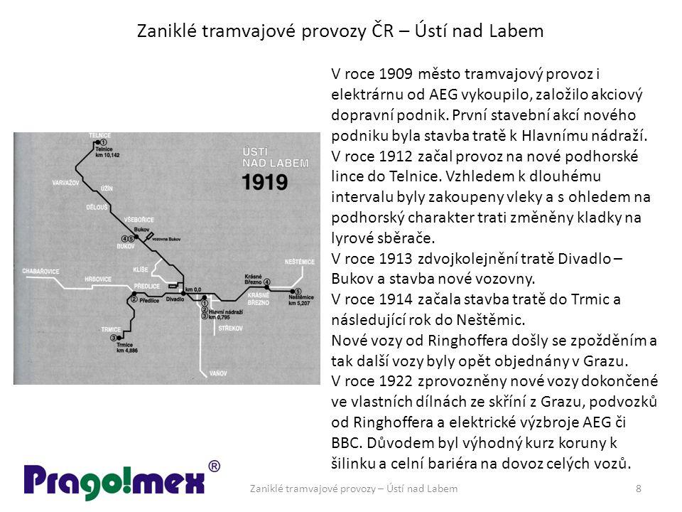Zaniklé tramvajové provozy ČR – Ústí nad Labem Zaniklé tramvajové provozy – Ústí nad Labem8 V roce 1909 město tramvajový provoz i elektrárnu od AEG vykoupilo, založilo akciový dopravní podnik.
