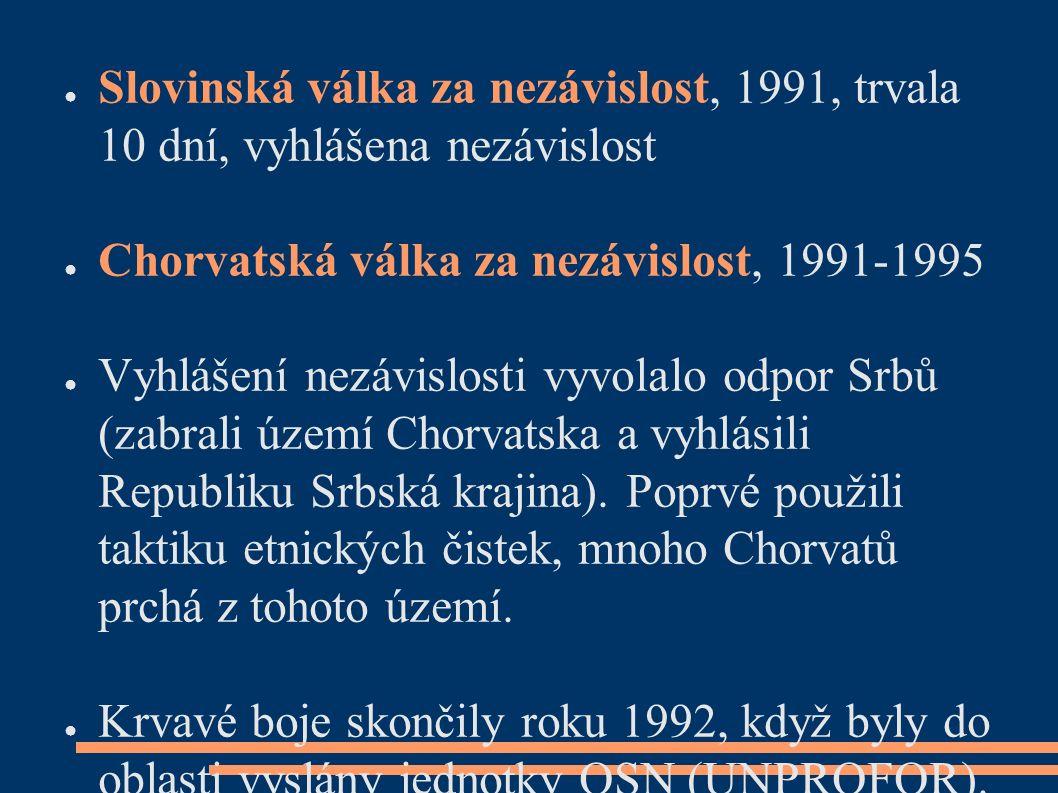● Slovinská válka za nezávislost, 1991, trvala 10 dní, vyhlášena nezávislost ● Chorvatská válka za nezávislost, 1991-1995 ● Vyhlášení nezávislosti vyvolalo odpor Srbů (zabrali území Chorvatska a vyhlásili Republiku Srbská krajina).