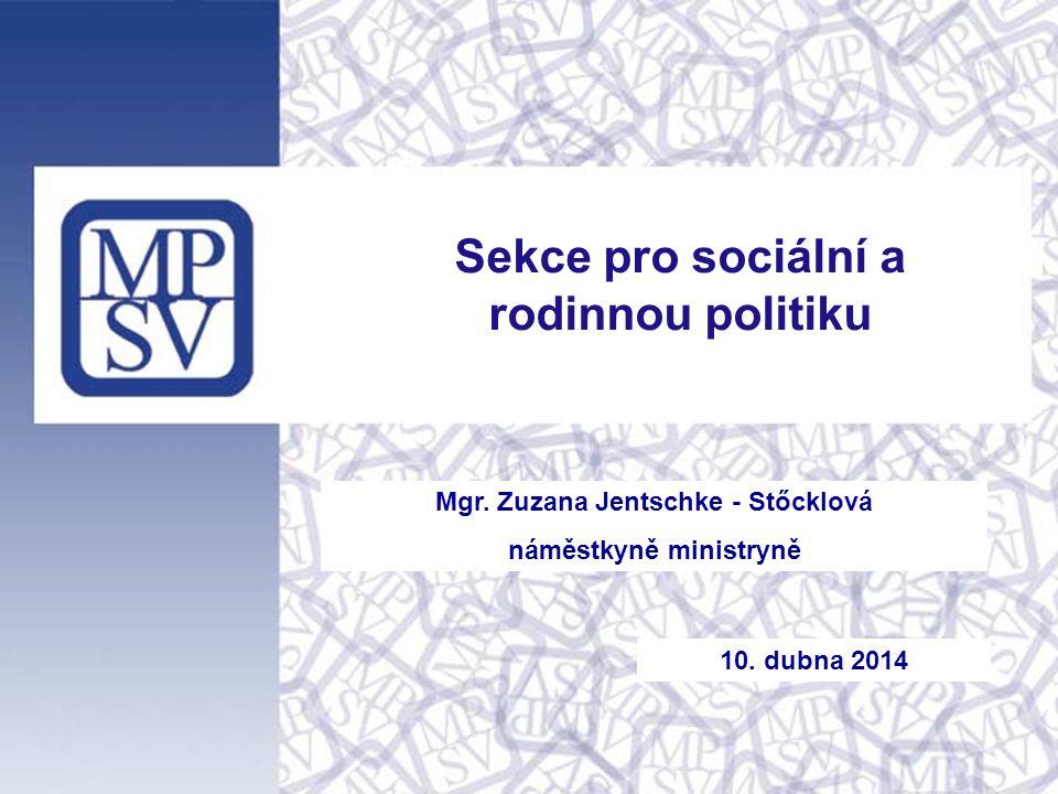 Mgr. Zuzana Jentschke - Stőcklová náměstkyně ministryně Sekce pro sociální a rodinnou politiku 10. dubna 2014