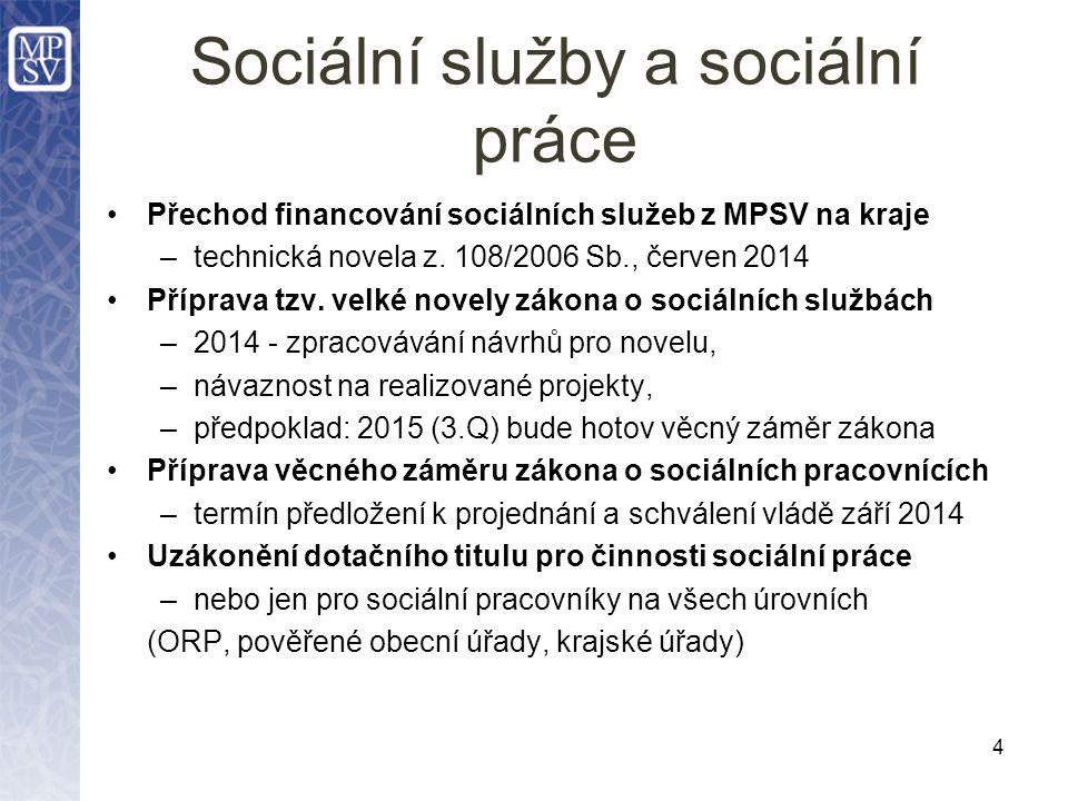 Sociální služby a sociální práce Přechod financování sociálních služeb z MPSV na kraje –technická novela z.