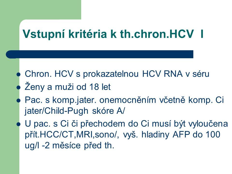 Vstupní kritéria k th.chron.HCV I Chron.