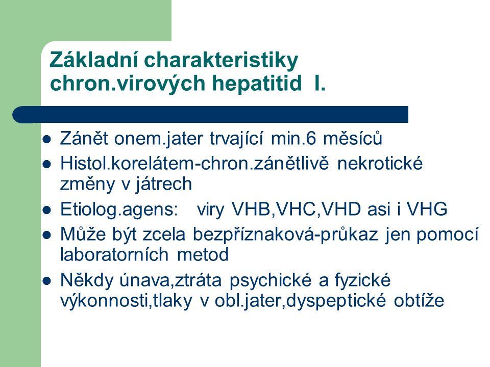 Základní charakteristiky chron.virových hepatitid I.