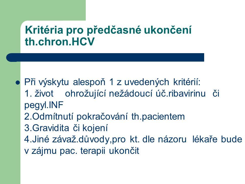 Kritéria pro předčasné ukončení th.chron.HCV Při výskytu alespoň 1 z uvedených kritérií: 1.