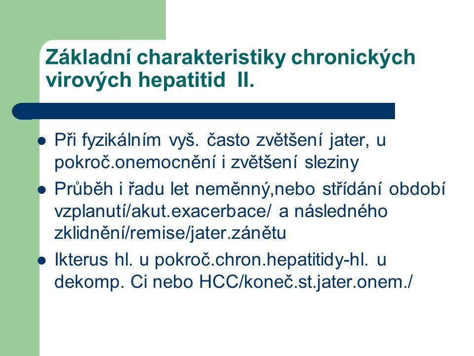 Základní charakteristiky chronických virových hepatitid II.
