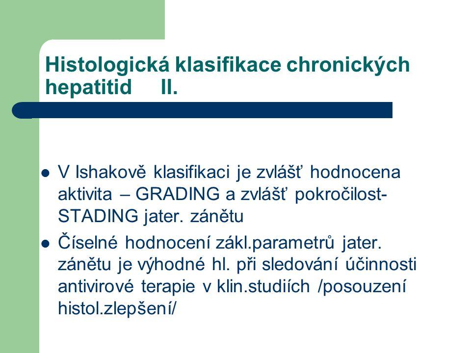 Histologická klasifikace chronických hepatitid II.