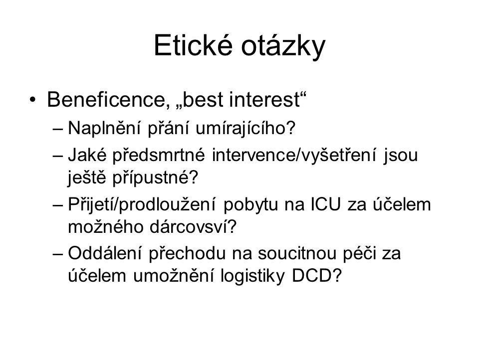 """Etické otázky Beneficence, """"best interest –Naplnění přání umírajícího."""