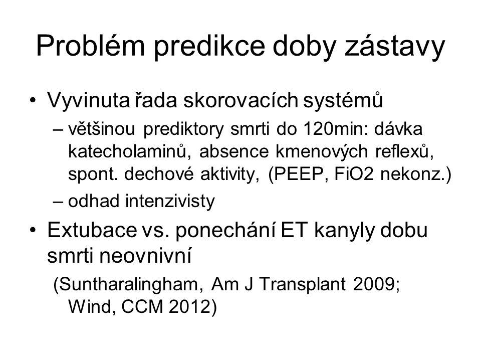 Problém predikce doby zástavy Vyvinuta řada skorovacích systémů –většinou prediktory smrti do 120min: dávka katecholaminů, absence kmenových reflexů, spont.
