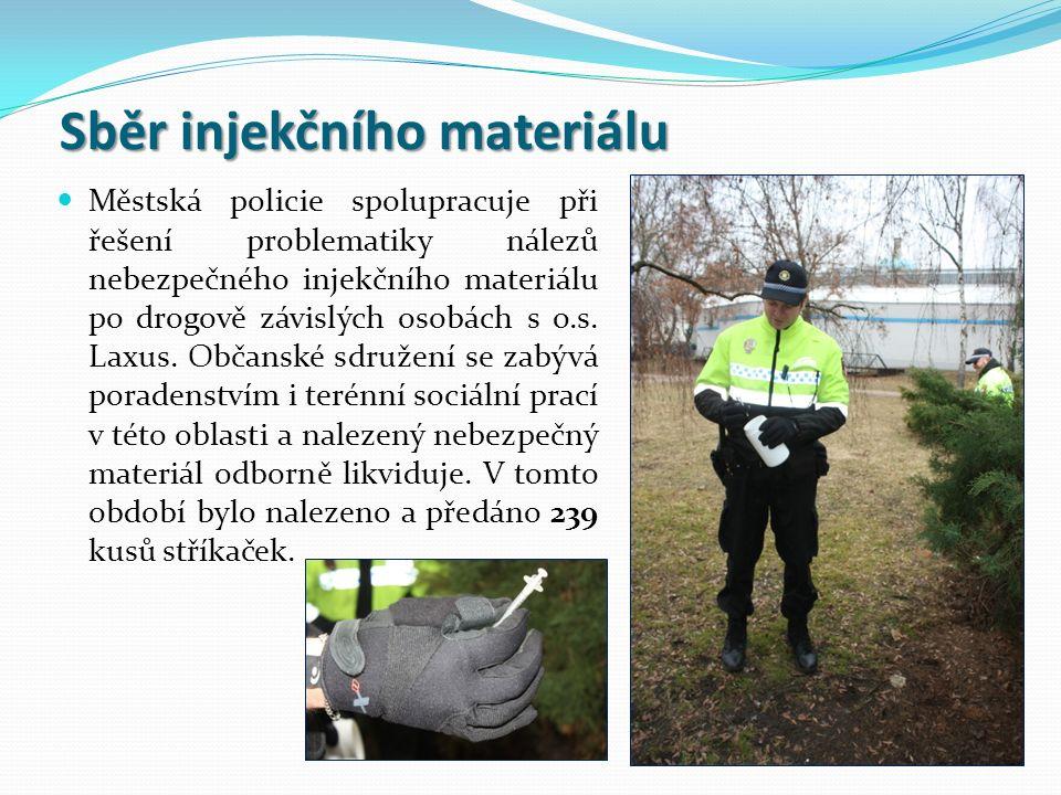 Sběr injekčního materiálu Městská policie spolupracuje při řešení problematiky nálezů nebezpečného injekčního materiálu po drogově závislých osobách s