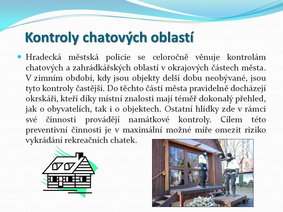 Kontroly chatových oblastí Kontroly chatových oblastí Hradecká městská policie se celoročně věnuje kontrolám chatových a zahrádkářských oblastí v okra