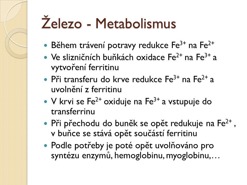 Železo - Metabolismus Během trávení potravy redukce Fe 3+ na Fe 2+ Ve slizničních buňkách oxidace Fe 2+ na Fe 3+ a vytvoření ferritinu Při transferu do krve redukce Fe 3+ na Fe 2+ a uvolnění z ferritinu V krvi se Fe 2+ oxiduje na Fe 3+ a vstupuje do transferrinu Při přechodu do buněk se opět redukuje na Fe 2+, v buňce se stává opět součástí ferritinu Podle potřeby je poté opět uvolňováno pro syntézu enzymů, hemoglobinu, myoglobinu,…