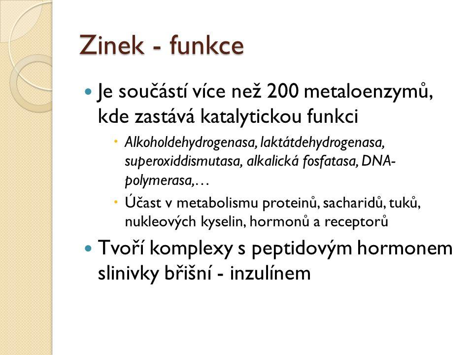 Zinek - funkce Je součástí více než 200 metaloenzymů, kde zastává katalytickou funkci  Alkoholdehydrogenasa, laktátdehydrogenasa, superoxiddismutasa, alkalická fosfatasa, DNA- polymerasa,…  Účast v metabolismu proteinů, sacharidů, tuků, nukleových kyselin, hormonů a receptorů Tvoří komplexy s peptidovým hormonem slinivky břišní - inzulínem