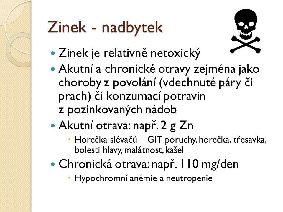 Zinek - nadbytek Zinek je relativně netoxický Akutní a chronické otravy zejména jako choroby z povolání (vdechnuté páry či prach) či konzumací potravin z pozinkovaných nádob Akutní otrava: např.