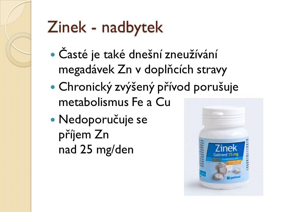Zinek - nadbytek Časté je také dnešní zneužívání megadávek Zn v doplňcích stravy Chronický zvýšený přívod porušuje metabolismus Fe a Cu Nedoporučuje se příjem Zn nad 25 mg/den