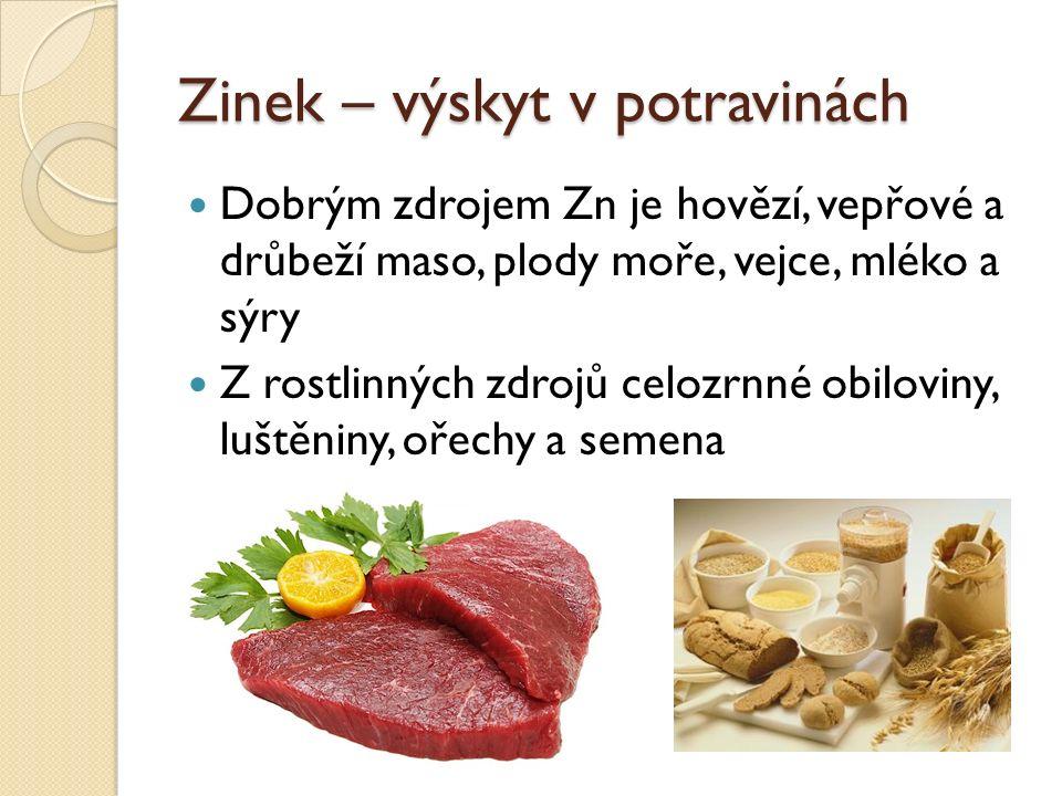 Zinek – výskyt v potravinách Dobrým zdrojem Zn je hovězí, vepřové a drůbeží maso, plody moře, vejce, mléko a sýry Z rostlinných zdrojů celozrnné obiloviny, luštěniny, ořechy a semena