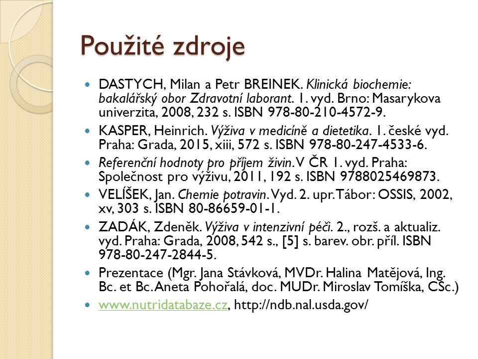 Použité zdroje DASTYCH, Milan a Petr BREINEK.