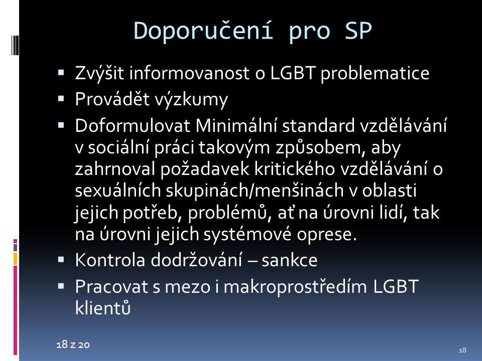 18 z 20 Doporučení pro SP  Zvýšit informovanost o LGBT problematice  Provádět výzkumy  Doformulovat Minimální standard vzdělávání v sociální práci