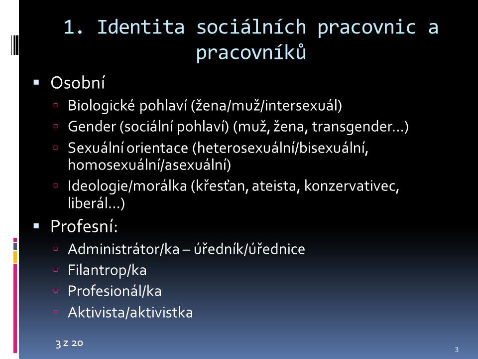 3 z 20 1. Identita sociálních pracovnic a pracovníků  Osobní  Biologické pohlaví (žena/muž/intersexuál)  Gender (sociální pohlaví) (muž, žena, tran