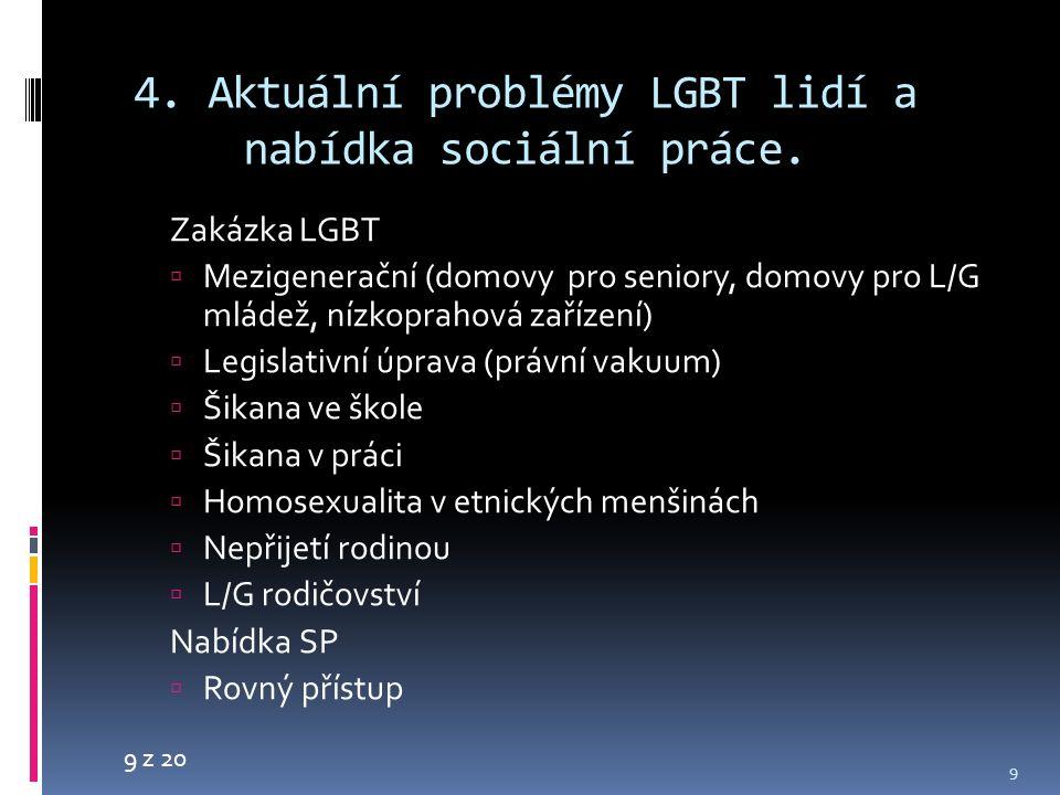 9 z 20 4. Aktuální problémy LGBT lidí a nabídka sociální práce. Zakázka LGBT  Mezigenerační (domovy pro seniory, domovy pro L/G mládež, nízkoprahová