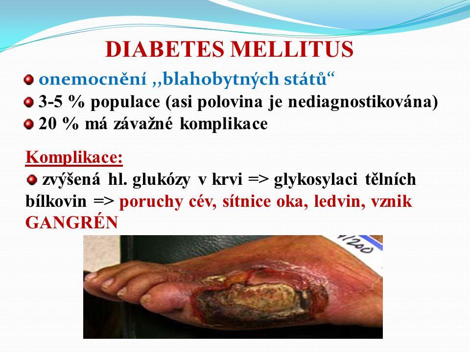 onemocnění,,blahobytných států'' 3-5 % populace (asi polovina je nediagnostikována) 20 % má závažné komplikace DIABETES MELLITUS Komplikace: zvýšená hl.