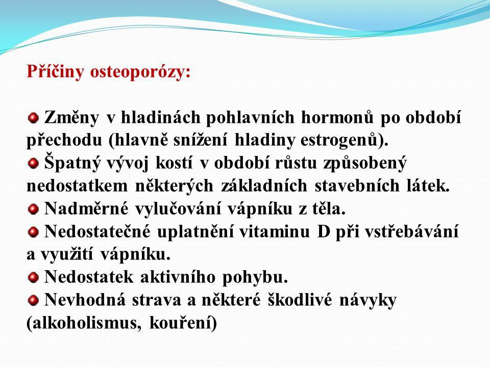 Příčiny osteoporózy: Změny v hladinách pohlavních hormonů po období přechodu (hlavně snížení hladiny estrogenů).