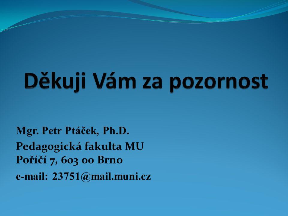 Mgr. Petr Ptáček, Ph.D. Pedagogická fakulta MU Poříčí 7, 603 00 Brno e-mail: 23751@mail.muni.cz