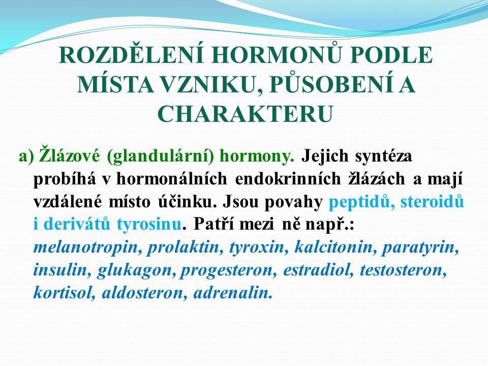 a) Žlázové (glandulární) hormony.