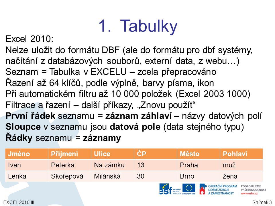 """1.Tabulky Snímek 3 Excel 2010: Nelze uložit do formátu DBF (ale do formátu pro dbf systémy, načítání z databázových souborů, externí data, z webu…) Seznam = Tabulka v EXCELU – zcela přepracováno Řazení až 64 klíčů, podle výplně, barvy písma, ikon Při automatickém filtru až 10 000 položek (Excel 2003 1000) Filtrace a řazení – další příkazy, """"Znovu použít První řádek seznamu = záznam záhlaví – názvy datových polí Sloupce v seznamu jsou datová pole (data stejného typu) Řádky seznamu = záznamy JménoPříjmeníUliceČPMěstoPohlaví IvanPeterkaNa zámku13Prahamuž LenkaSkořepováMilánská30Brnožena EXCEL 2010 III"""