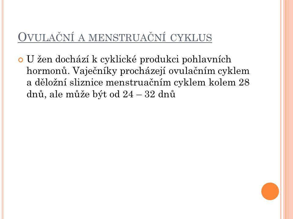 O VULAČNÍ A MENSTRUAČNÍ CYKLUS U žen dochází k cyklické produkci pohlavních hormonů.