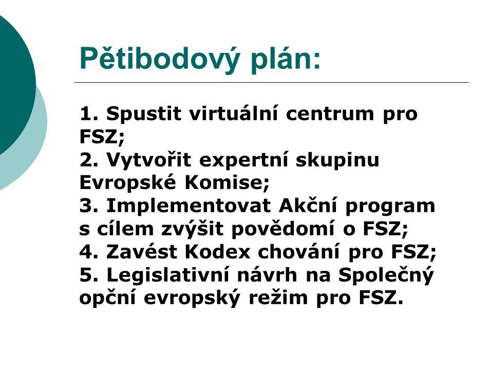 Pětibodový plán: 1. Spustit virtuální centrum pro FSZ; 2.