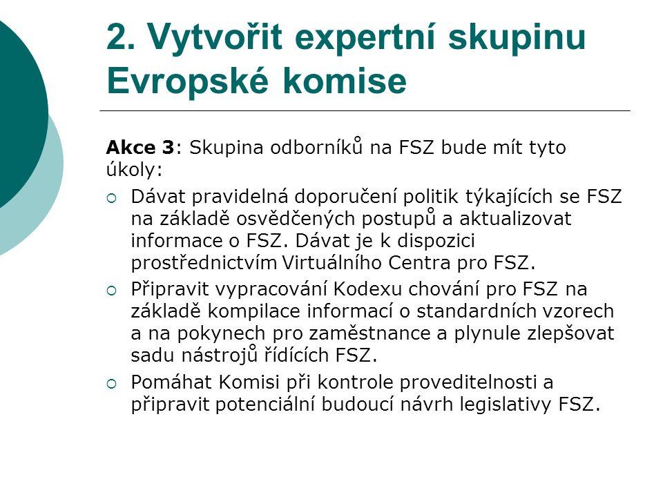 2. Vytvořit expertní skupinu Evropské komise Akce 3: Skupina odborníků na FSZ bude mít tyto úkoly:  Dávat pravidelná doporučení politik týkajících se