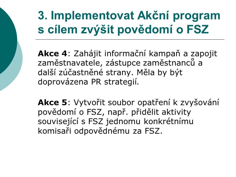 3. Implementovat Akční program s cílem zvýšit povědomí o FSZ Akce 4: Zahájit informační kampaň a zapojit zaměstnavatele, zástupce zaměstnanců a další