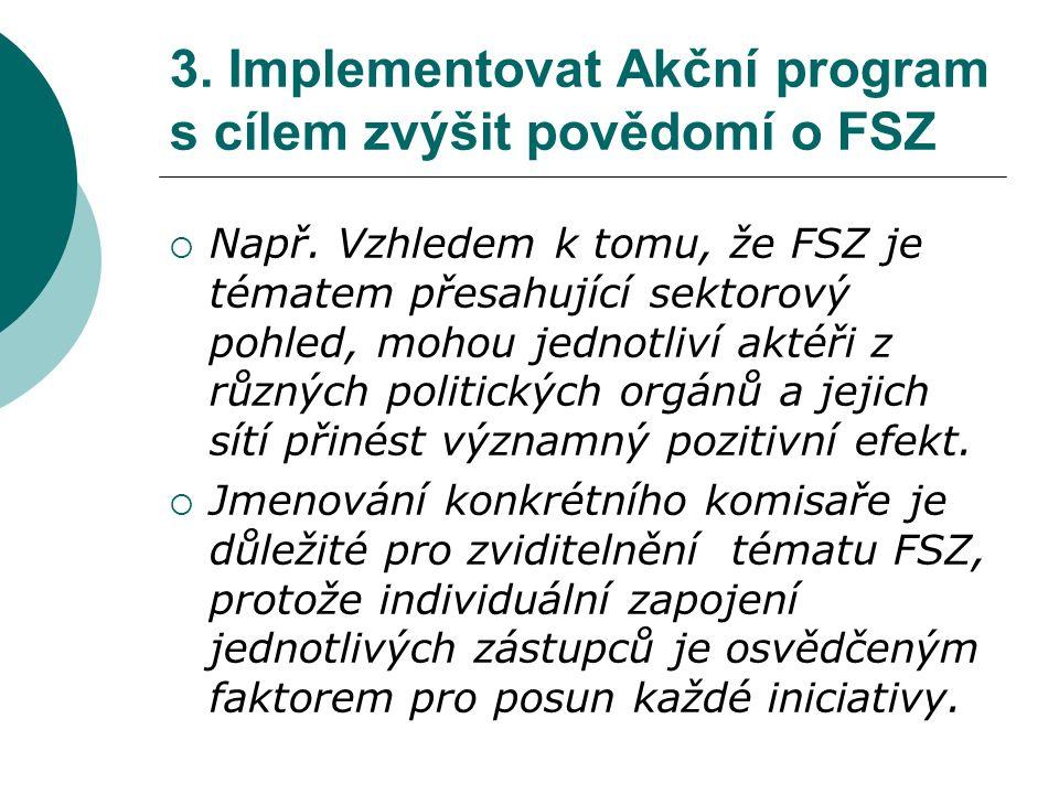 3. Implementovat Akční program s cílem zvýšit povědomí o FSZ  Např.