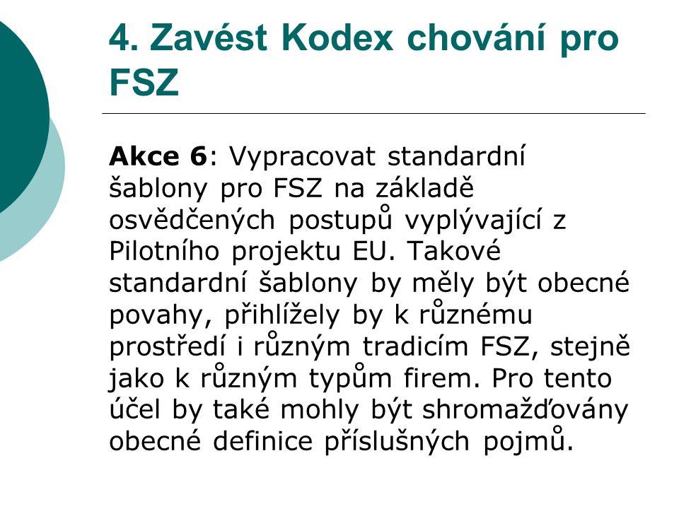 4. Zavést Kodex chování pro FSZ Akce 6: Vypracovat standardní šablony pro FSZ na základě osvědčených postupů vyplývající z Pilotního projektu EU. Tako