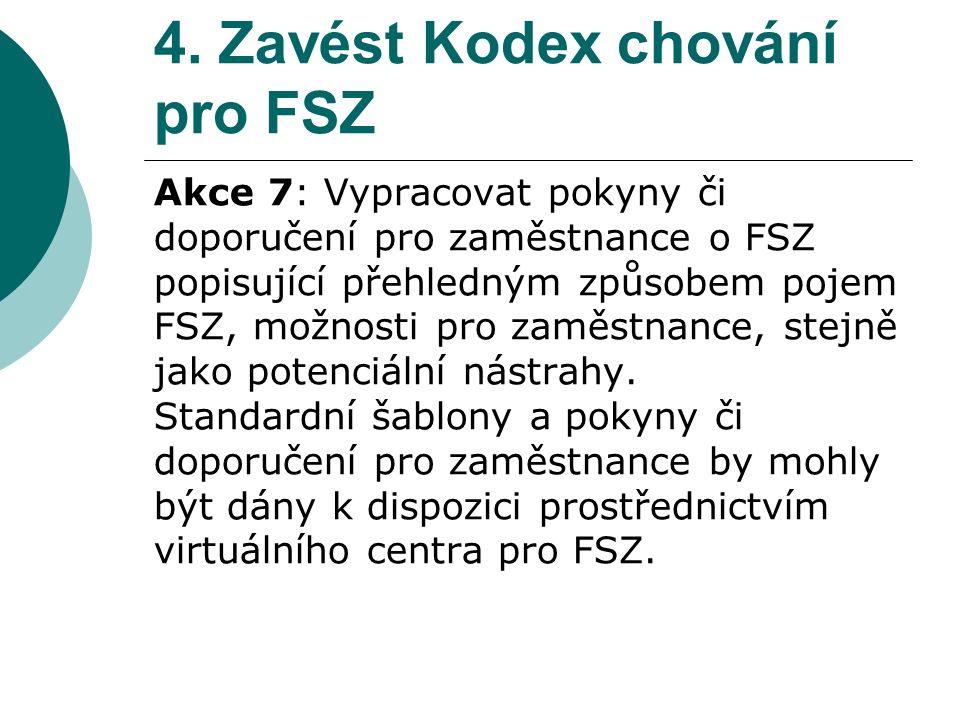 4. Zavést Kodex chování pro FSZ Akce 7: Vypracovat pokyny či doporučení pro zaměstnance o FSZ popisující přehledným způsobem pojem FSZ, možnosti pro z