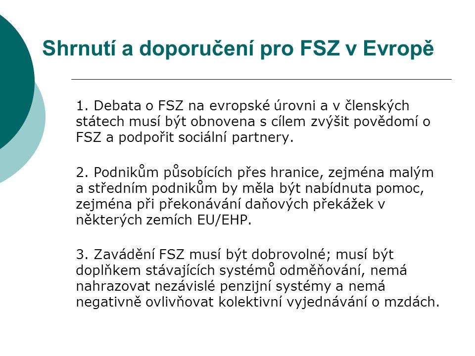 Shrnutí a doporučení pro FSZ v Evropě 1.