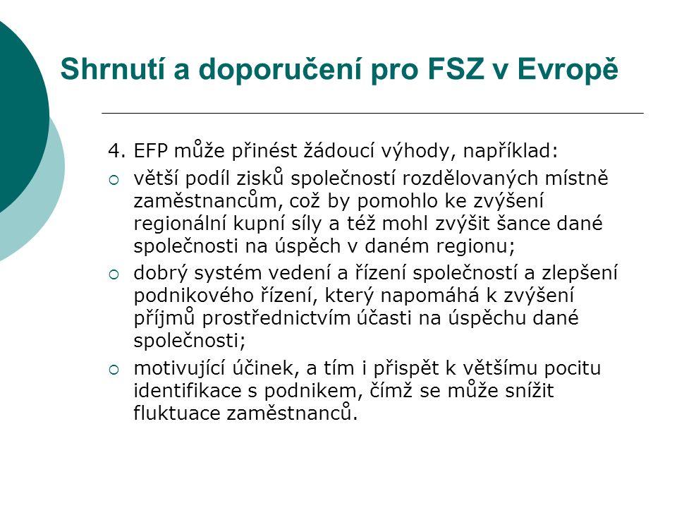 Shrnutí a doporučení pro FSZ v Evropě 4.