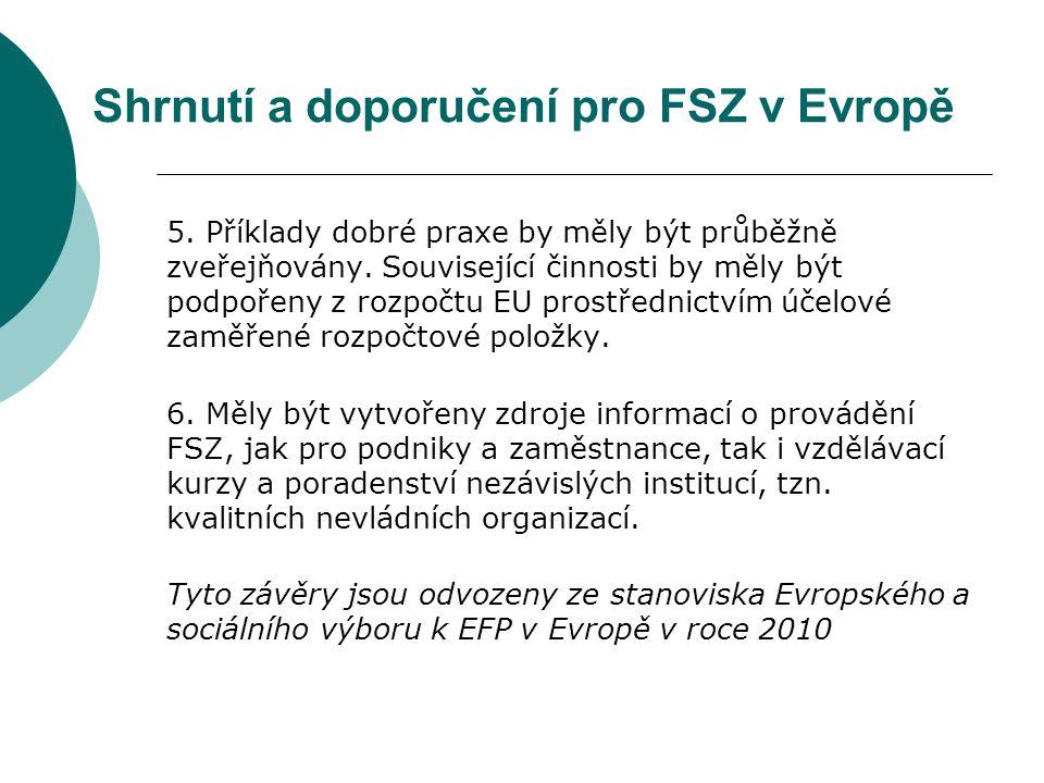 Shrnutí a doporučení pro FSZ v Evropě 5. Příklady dobré praxe by měly být průběžně zveřejňovány.