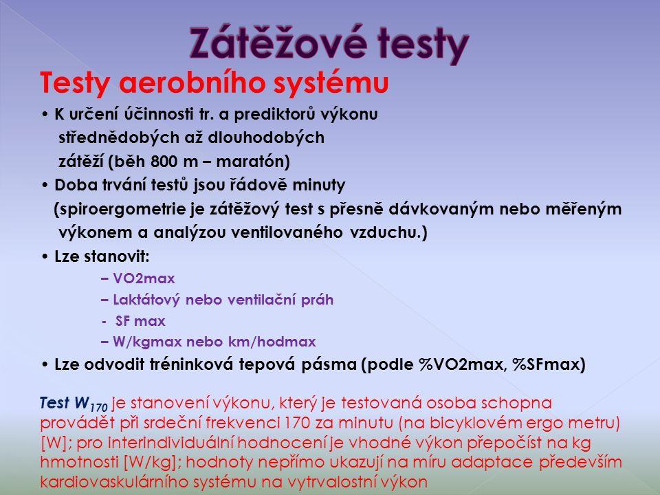 Testy aerobního systému K určení účinnosti tr.
