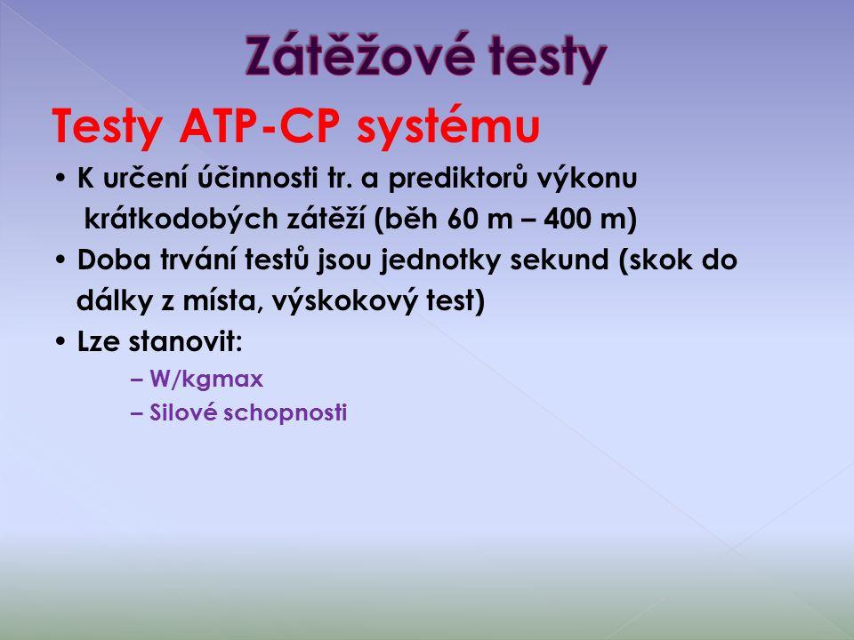 Testy ATP-CP systému K určení účinnosti tr.