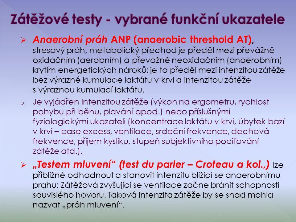  Anaerobní práh ANP (anaerobic threshold AT), stresový práh, metabolický přechod je předěl mezi převážně oxidačním (aerobním) a převážně neoxidačním (anaerobním) krytím energetických nároků; je to předěl mezi intenzitou zátěže bez výrazné kumulace laktátu v krvi a intenzitou zátěže s výraznou kumulací laktátu.
