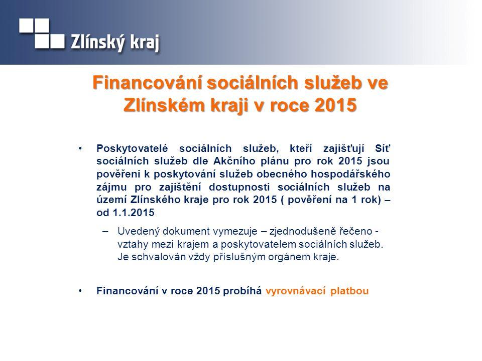 Financování sociálních služeb ve Zlínském kraji v roce 2015 Poskytovatelé sociálních služeb, kteří zajišťují Síť sociálních služeb dle Akčního plánu pro rok 2015 jsou pověřeni k poskytování služeb obecného hospodářského zájmu pro zajištění dostupnosti sociálních služeb na území Zlínského kraje pro rok 2015 ( pověření na 1 rok) – od 1.1.2015 –Uvedený dokument vymezuje – zjednodušeně řečeno - vztahy mezi krajem a poskytovatelem sociálních služeb.