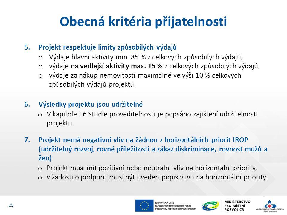 5.Projekt respektuje limity způsobilých výdajů o Výdaje hlavní aktivity min. 85 % z celkových způsobilých výdajů, o výdaje na vedlejší aktivity max. 1