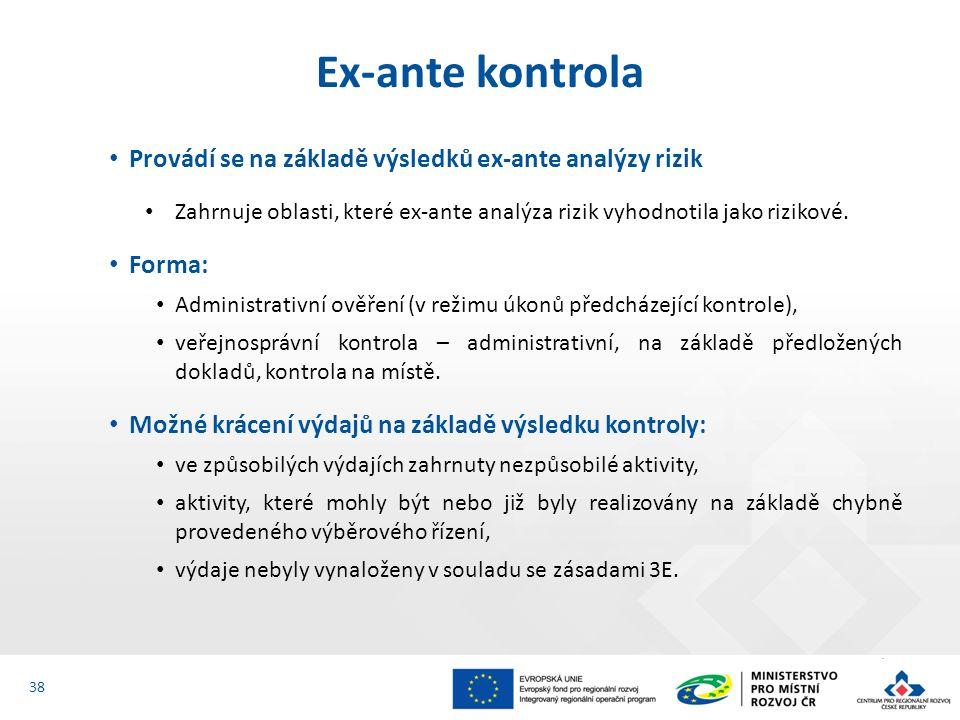 Provádí se na základě výsledků ex-ante analýzy rizik Zahrnuje oblasti, které ex-ante analýza rizik vyhodnotila jako rizikové. Forma: Administrativní o