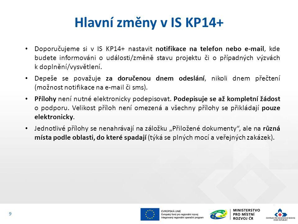Doporučujeme si v IS KP14+ nastavit notifikace na telefon nebo e-mail, kde budete informováni o události/změně stavu projektu či o případných výzvách