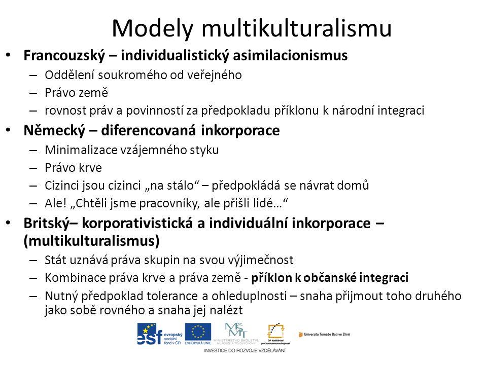 """Modely multikulturalismu Francouzský – individualistický asimilacionismus – Oddělení soukromého od veřejného – Právo země – rovnost práv a povinností za předpokladu příklonu k národní integraci Německý – diferencovaná inkorporace – Minimalizace vzájemného styku – Právo krve – Cizinci jsou cizinci """"na stálo – předpokládá se návrat domů – Ale."""