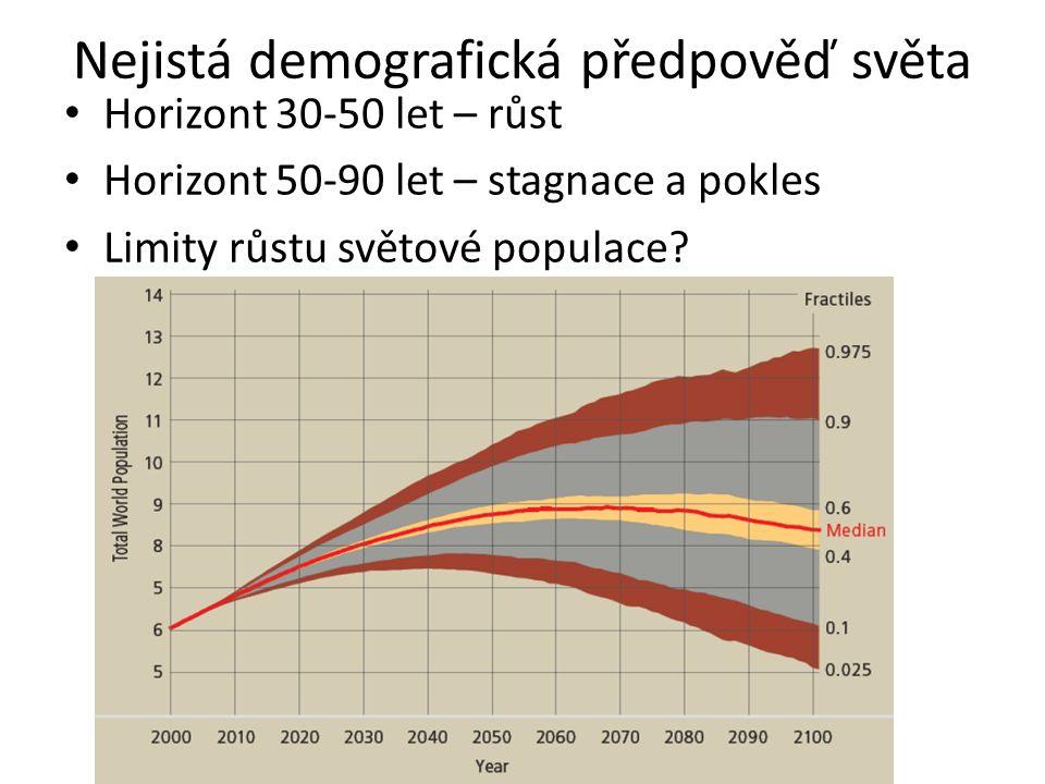 Nejistá demografická předpověď světa Horizont 30-50 let – růst Horizont 50-90 let – stagnace a pokles Limity růstu světové populace